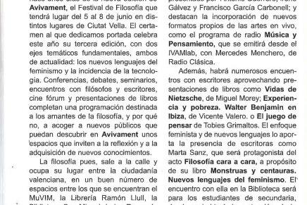 Avivament, festival de filosofía de Valencia, por Laura Pérez | Cartelera Turia 2887, 31 mayo 2019